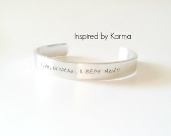 Army Navy Game Jewelry- Hand stamped Quote Cuff Bracelet, Proud, Military Mom, Army Mom, Beat Navy, Army Navy Game Jewelry, Beat Army