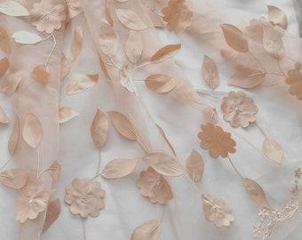 """1 yard Lace Fabric Ivory Organza Dark Yellow Leaf Flower Appliques Fabric Wedding Fabric Wedding Fabric 51"""" width"""