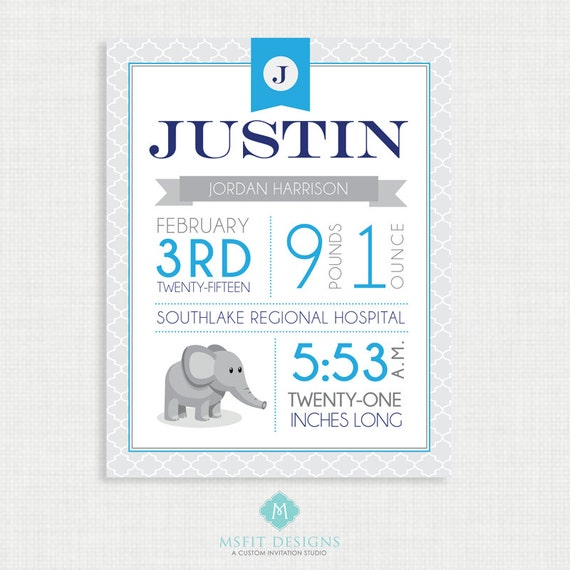 Nursery Art - Baby Birth Stats - Nursery Decor - Personalized Nursery Wall Art - Any Color - Print