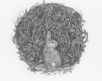 Bunny bramble art print - A5