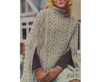 Aran Cape Pattern Poncho Knitting Pattern Irish Cape Knee Length PDF SH106