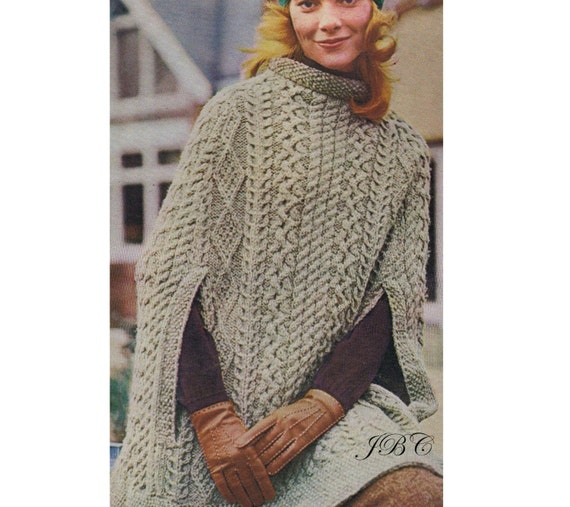 Aran Cape Pattern Poncho Knitting Pattern Irish Cape Knee Length Pdf