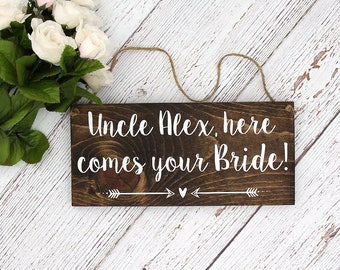 """Personalized Hand Painted Wood Wedding Sign Name & """"Here Comes Your Bride""""-Ring Bearer Sign, Flower Girl Sign, Wedding Ceremony  - 12""""x5.5"""""""