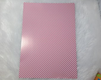 striped glossy pink A4 sheet