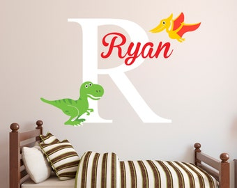 Personalized Boys Name Decal - Dinosaur Wall Decal - Tyrannosaurus Rex and Pterodactyl - Nursery Decal Baby Boys Room T Rex Vinyl Wall Decal