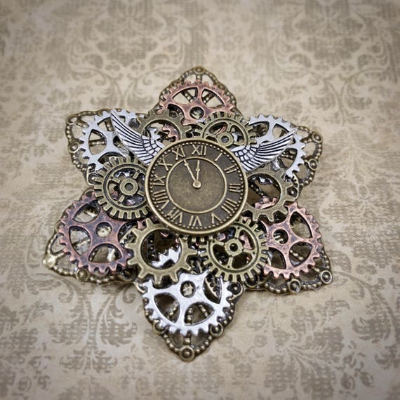 Steampunk Time Flies Brooch