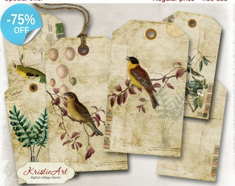 75% OFF SALE Birds Tags - Digital Collage Sheet Digital Tags T014 Printable Download Flora & Fauna Tags Digital Image Tags