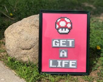 Get A Life Framed Pixel Art