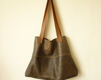 brown leather tote bag upcyled leather bag shopper bag leather shoulder bag tote brown leather bag minimalist bucket bag TerraLenta