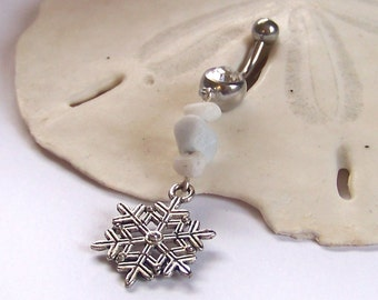 Belly Button Ring - Silver Snowflake Belly Ring -Charm Belly Button Jewelry - Silver Belly Jewelry - Made to Order