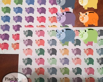 Multi-Colored Piggy Bank Planner and Calendar Stickers (56) made for Erin Condren Happy Planner Kate Spade 2017-18