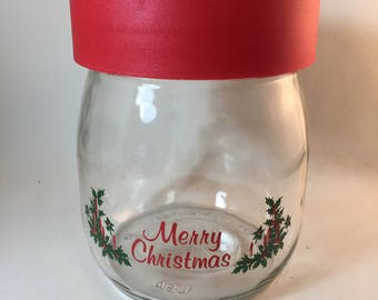 Carlton Glass Christmas Jar Canister 5 1/2""