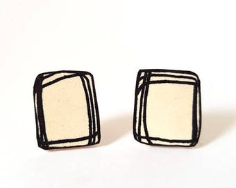 Scratch Rectangle Earrings