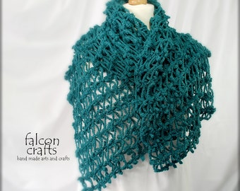 womans crochet shawl,turquoise colour,extra long open weave wrap,soft merino wool,blue green,long shawl,womans crochet long wrap,,shawl