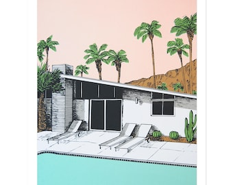 Palm Springs Pool Screen Print