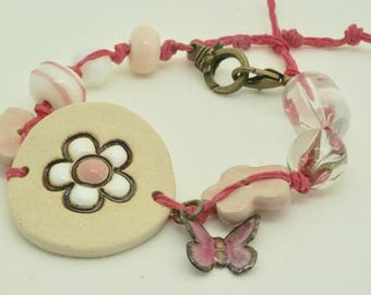 Pale Pink Floral Bracelet, Pastel Pink Flower Bracelet, Spring Bracelet, Butterfly Bracelet, Handmade Ceramic Cuff Bracelet, Floral Jewelry