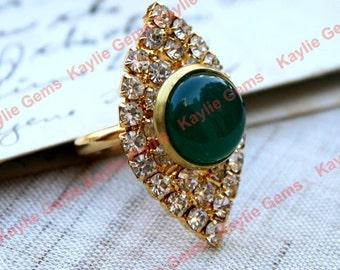 Adjustable Ring Jade Glass Jewel Gold Rhinestone Decorated