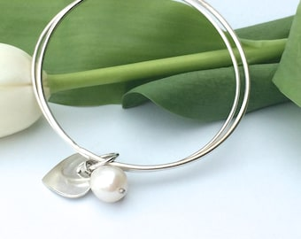 Silver Pearl Bangle - Double Bangle with Silver Heart and Freshwater Pearl