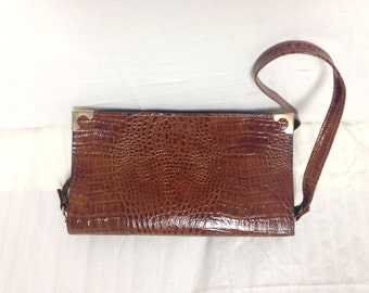 Faux leather purse ,bag,Croc Embossed ,Faux leather,Brown, Shoulder Bag