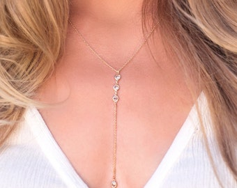 Lariat Necklace, Gold Lariat Necklace, Y Style Lariat Necklace, Gold Layering Necklace, Drop Lariat Necklace, Lariat necklace Crystal N261-G