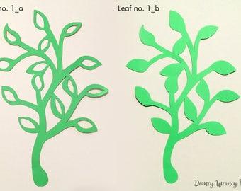 SVG and PDF Digital Leaf - Template # 1 - 2 kinds - Cricut and print Ready- Adjustable