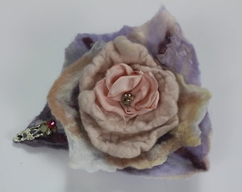 Flower Felted Brooch pin with jewels