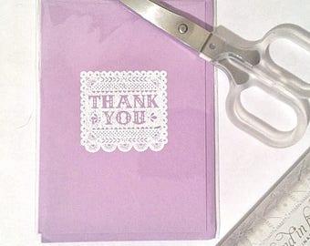 Purple Crochet Thank-You Card