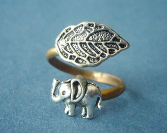 Silver elephant ring with a leaf wrap ring, adjustable ring, animal ring, silver ring, statement ring