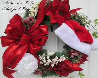 CHRISTMAS DECOR WREATH~Floral Christmas Decor Wreath~Faux Evergreen Wreath ~ Luxury Holiday Door Wreath~Seasonal Door Decor~Holiday Wreath ~