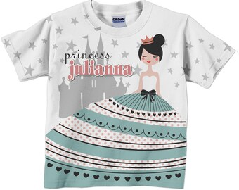 Princess Shirt, Personalized Girl's Princess Birthday Party T-Shirt, Princess Castle Birthday Shirt