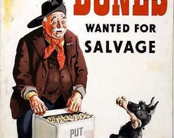 World War Two British Bone Recycling Poster Poster A3 / A2 Print