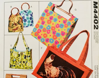 McCall's Fashion Accessories M4402, Handbags and Totes Pattern, UNCUT, Purses, Fashion, Bags, Wooden Handles, Beads, 2004