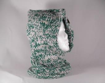 Hooded scarf women #4017,green hooded scarf,winter accessory,winter hood,knit hood,green knit hood,chunky winter snood, warm winter