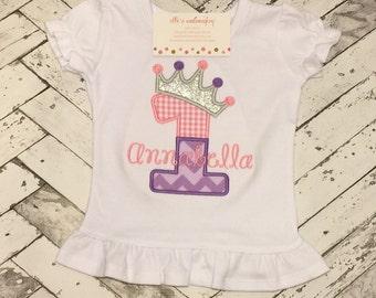 Princess tiara birthday shirt/ Princess ruffle shirt/ Tiara birthday shirt/ Personalized princess birthday shirt