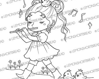 Digital Stamp Girl with Flute, Cute Birds Animals, Digi Download, Fantasy, Children Coloring Page, Scrapbooking Supplies, Clip Art