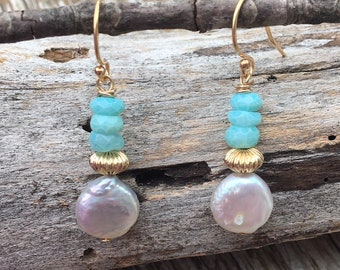 Gold Filled Coin Pearl Peruvian Opal Earrings