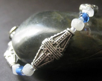 Moonstone Bracelet, Gemstone, Blue, Silver. Mayan Moon. Handmade Jewelry by Gilliauna