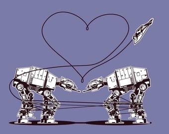 Star Wars Sticker: Star Wars Party Favors, Star Wars Valentine, Valentines Day, AT-AT Love - Purple, ATAT Walkers, Laptop Stickers