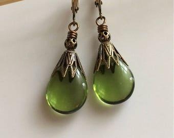 Olive Green Glass Earrings  Bohemian Earrings