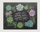 Succulent Wall Art - Chalkboard Decor - Chalkboard Art - Succulent Decor - Illustration - Chalk Art - Succulent Print- Succulents