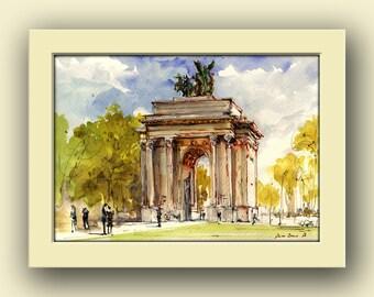 London Arch city - triumphal arch London decor- England park original art wall -  cityscape - Original watercolor painting- Juan Bosco