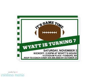 football party invitation, personalized invitations, printable, football party