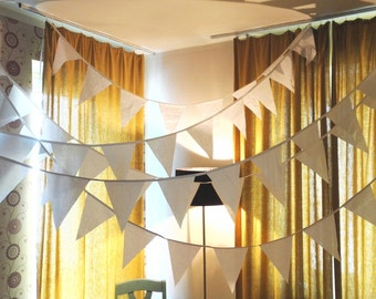 White fabric bunting banner garland white flags wedding party art decor 2mtrs