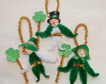 St. Patrick's Day  Chenille Ornaments Children, Lucky Shamrocks, Victorian Primitive Style (87)