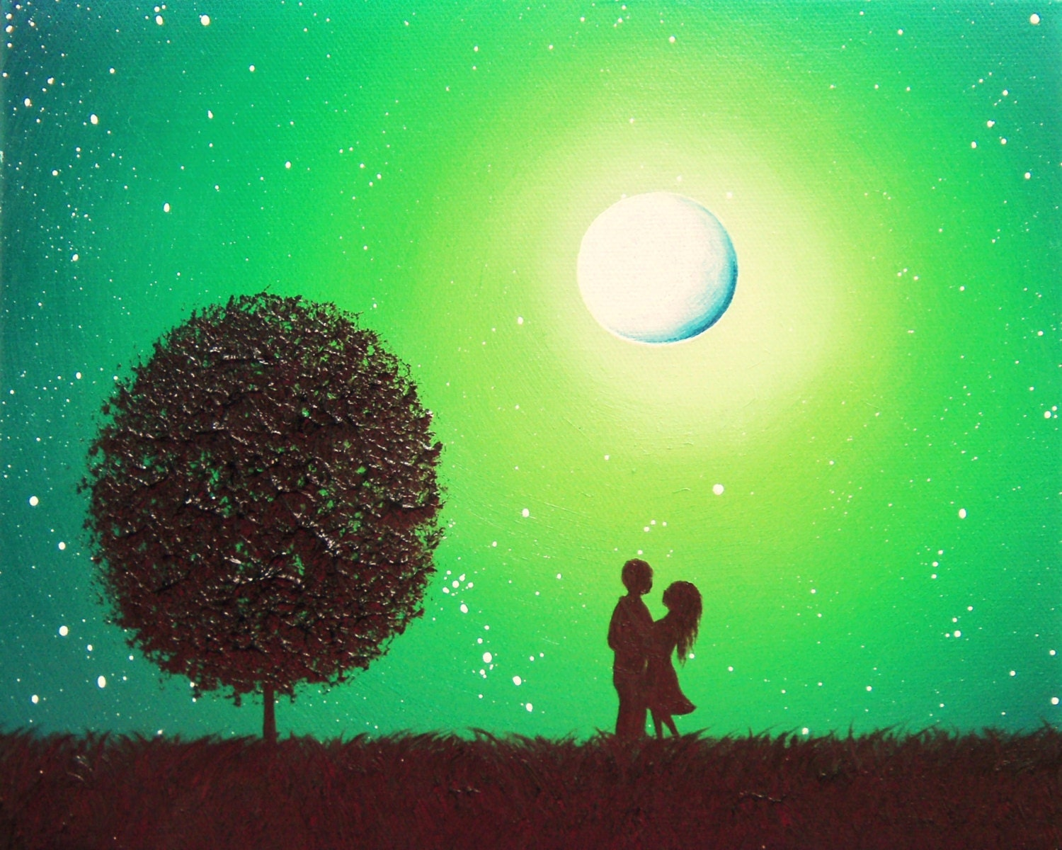 Romantic Couple Art Print In Love Whimsical Silhouette