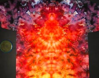 Ice Dye Mirror Crinkle T-Shirt,  Tie Dye Fire, purple and black Adult 2xl