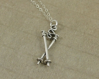 Ski Poles Necklace, Sterling Silver Ski Poles Charm on a Silver Cable Chain