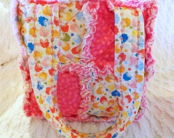 Butterflies Rag Quilt Tote for Girl - Pink - Handmade - Girl Handbag - Girl Tote - Child Rag Purse