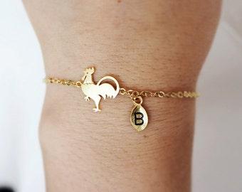 rooster bracelet, Personalized bracelet, initial bracelet, Personalized Jewelry, friendship bracelet,Chicken bracelet, bird bracelet,animal