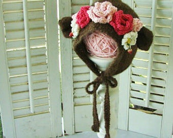 Baby Bear Hat with Flower Crown 6-12M READY to SHIP in Merino Wool  Baby or Toddler Bonnets
